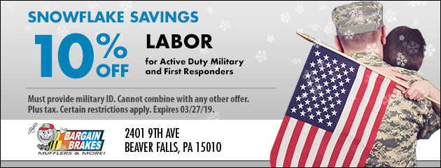 Snowflake Savings: 10% Off Labor for Active Duty Military and First Responders