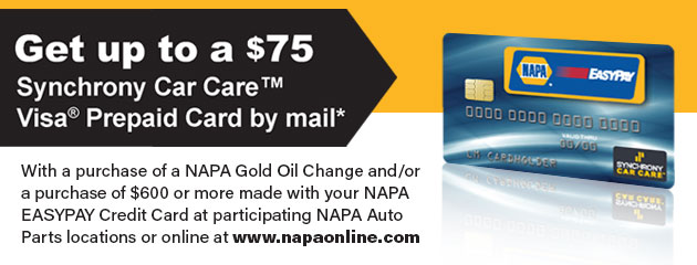 Get up to a $75 Synchrony Car Care Visa® Prepaid Card by mail