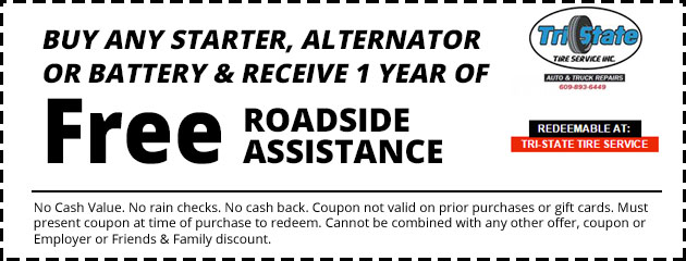 Buy Any Starter, Alternator or Battery and Receive 1 year of FREE Roadside Assistance