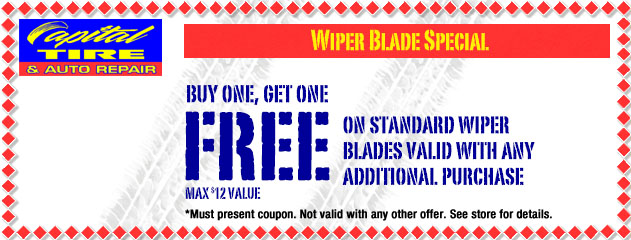 Buy One, Get One Free on Standard Wiper Blades