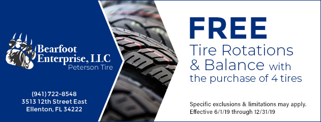 Free tire rotations & balance with the purchase of 4 new tires