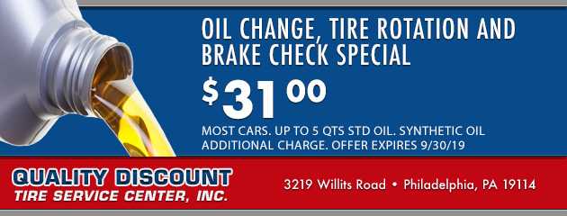 Oil Change, Tire Rotation and Brake Check Special