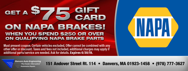 Get up to an $75 Gift Card on NAPA Brakes