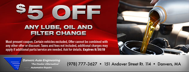 $5 Off Any Lube, Oil, & Filter Change