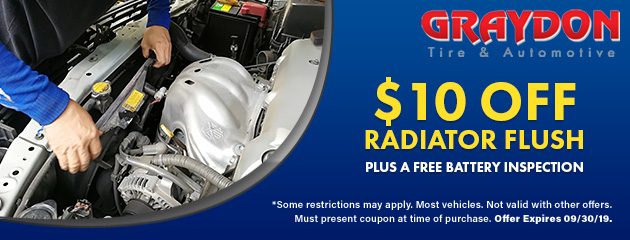 $10 Off Radiator Flush plus a Free Battery Inspection