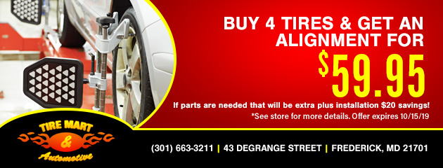 $59.95 Alignment with the purchase of 4 tires