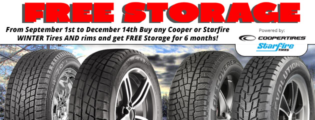 FREE STORAGE with Cooper & Starfire Tires and Rims