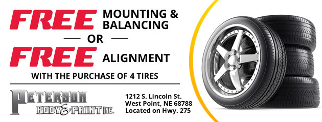 Free Mounting & Balancing or Free Alignment with the purchase of 4 tires