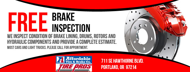 Free Brake Inspection Near Me >> Portland Or Auto Repair Tires Shop Affordable Tire Brake Co