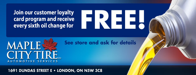Join our customer loyalty card program and receive every fifth oil change for free!