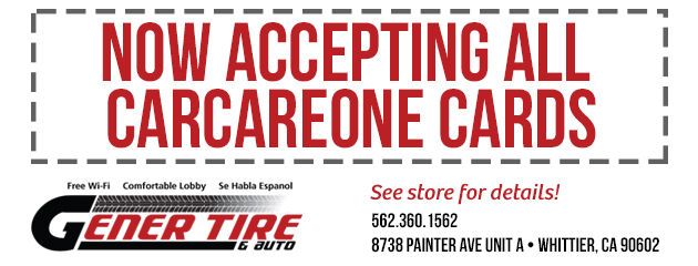 NOW ACCEPTING ALL CARCAREONE CARDS