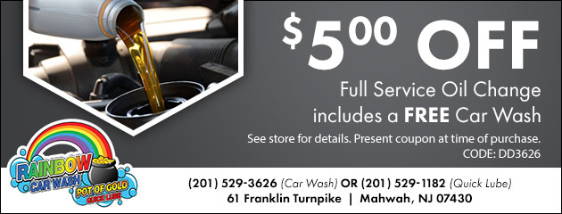 $5.00 OFF Full Service Oil Change includes a FREE Car Wash