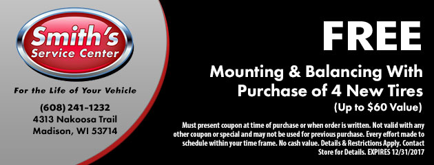 FREE Mounting & Balancing With Purchase of 4 New Tires
