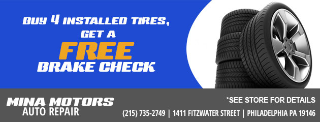 FREE Brake Check with the purchase of 4 installed tires