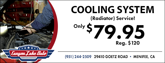 $79.95 Cooling System Radiator Service