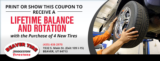 Lifetime Balance and Rotation with purchase of four new tires!
